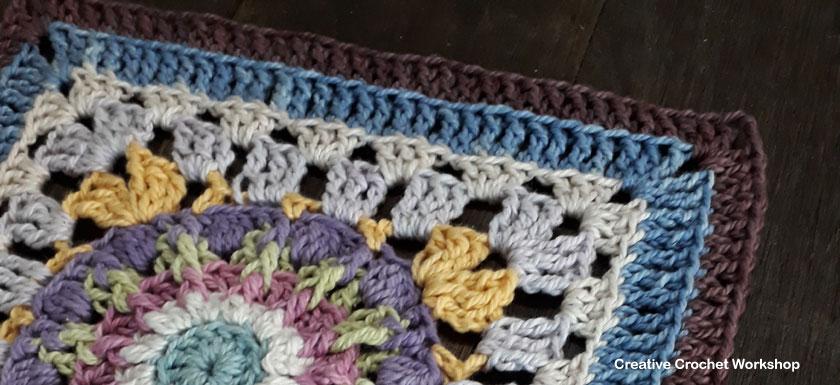 Scrappy Afghan Square 2018 Number Five - Free Crochet Pattern | Creative Crochet Workshop @creativecrochetworkshop #freecrochetpattern #grannysquare #afghansquare #crochetalong #ccwcrochetablock2018