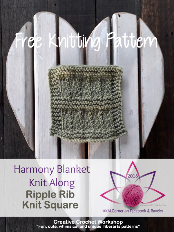 Ripple Rib Knit Square - Free Knitting Pattern | Creative Crochet Workshop #KALCorner