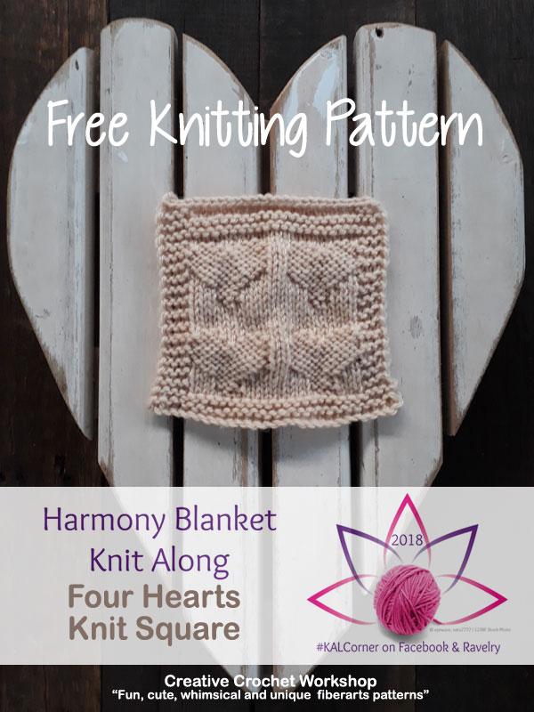 Four Hearts Knit Square - Free Knitting Pattern | Creative Crochet Workshop #KALCorner