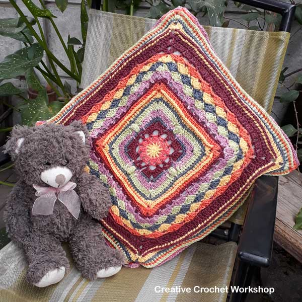 Bloom In Tune Square Cushion - Free Crochet Pattern | Creative Crochet Workshop #freecrochetpattern #crochet #crochetsquare