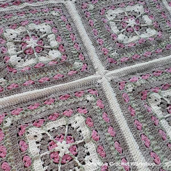 Snuggled Hearts Baby Blanket Part Four  Creative Crochet Workshop @creativecrochetworkshop #crochetalong #grannysquare #afghansquare #crochetbabyblanket #ccwsnuggledheartsblanket #madewithheart