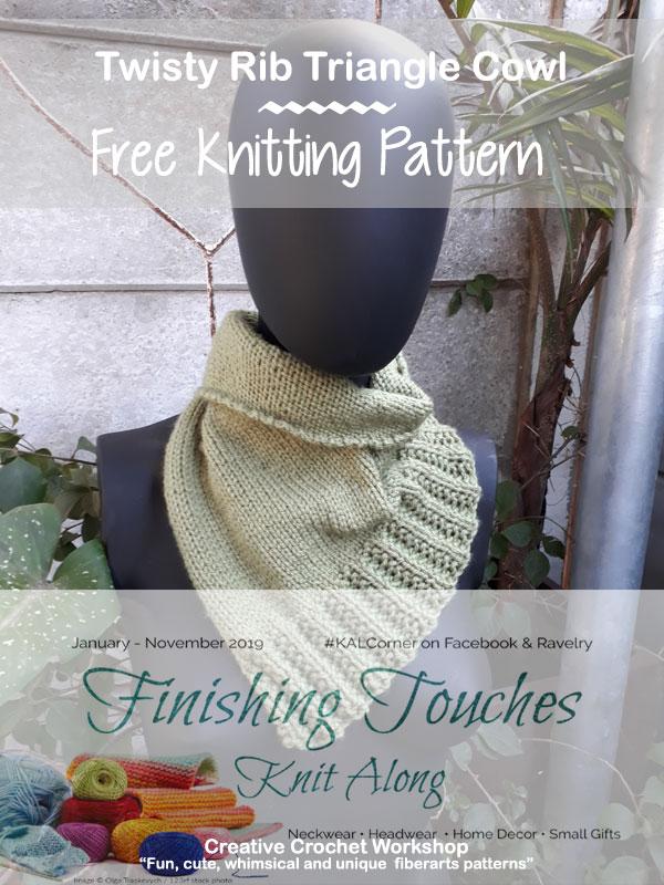 Twisty Rib Triangle Cowl - Free Knitting Pattern | Creative Crochet Workshop #KALCorner #lionbrand #lionbrandyarn