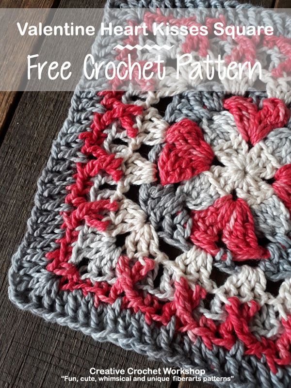 Valentine Heart Kisses Square- Free Crochet Pattern | Creative Crochet Workshop #freecrochetpattern #crochet #crochetsquare