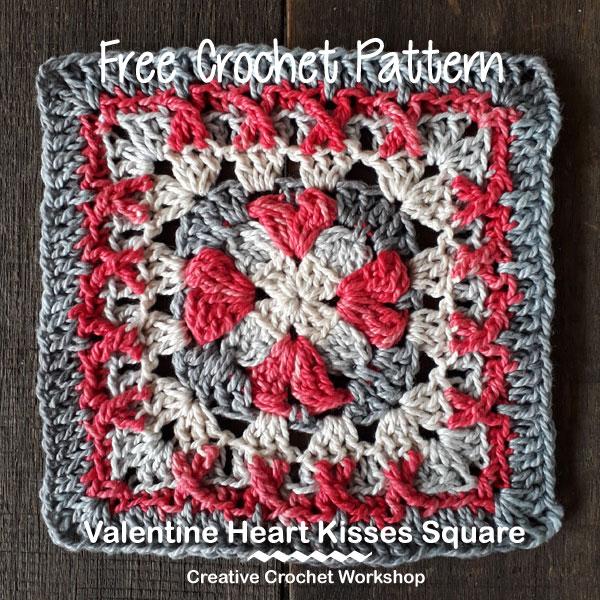 Valentine Heart Kisses Square- Free Crochet Pattern | Creative Crochet Workshop #freecrochetpattern #crochet #crochetsquare