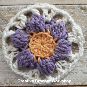 Boxed Violet Flower Square - Free Crochet Pattern | Creative Crochet Workshop #freecrochetpattern #crochet #crochetsquare