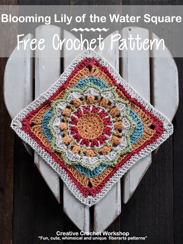 Blooming Lily of the Water Square - Free Crochet Pattern | Creative Crochet Workshop @creativecrochetworkshop #freecrochetpattern #grannysquare #afghansquare