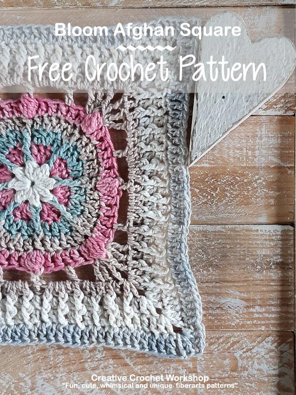 Bloom Afghan Square - Free Crochet Pattern | Creative Crochet Workshop @creativecrochetworkshop #freecrochetpattern #grannysquare #afghansquare #crochetalong #ccwcrochetablock2019