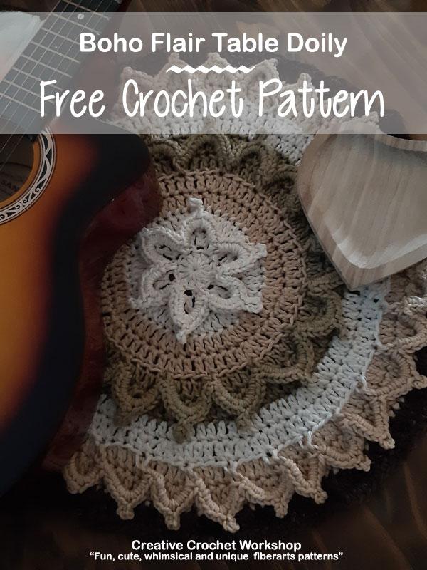 Boho Flair Table Doily - Free Crochet Pattern | Creative Crochet Workshop @creativecrochetworkshop #freecrochetpattern #crochetdoily #bohocrochet #bohemian #crochet #tabledoily