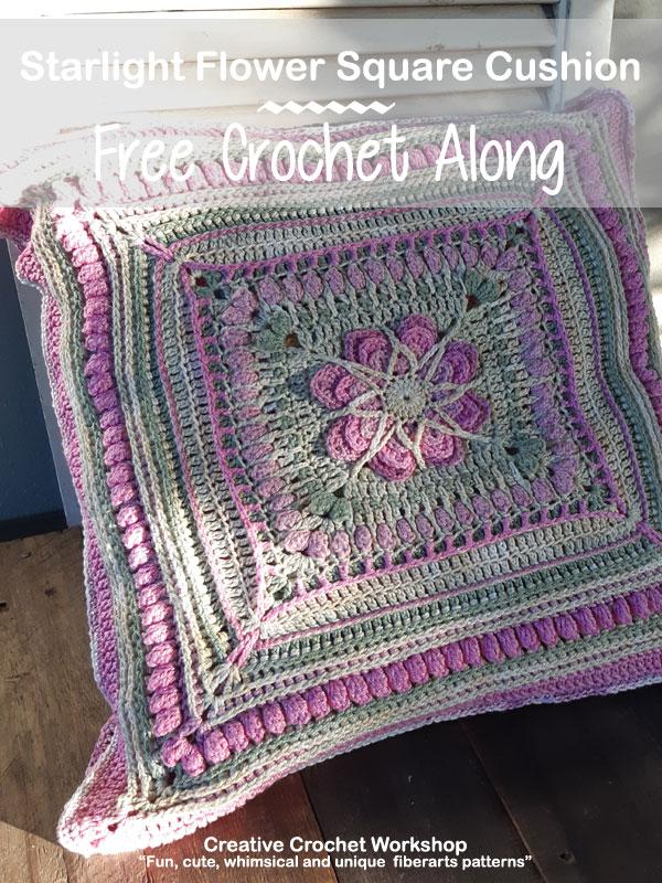 Starlight Flower Square Cushion   Creative Crochet Workshop @creativecrochetworkshop #crochetalong #crochetcushion #crochet #ccwstarlightflowercal #crochetpattern