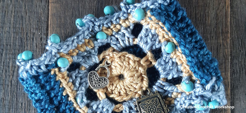 Boho Chic Bracelet - Free Crochet Pattern | Creative Crochet Workshop @creativecrochetworkshop #freecrochetpattern #crochetdecor #bohocrochet #bohemian #crochet