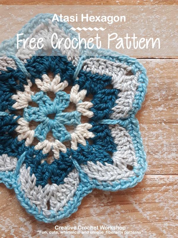 Atasi Hexagon - Free Crochet Pattern | Creative Crochet Workshop #freecrochetpattern #crochet #crochetalong #hexagon @creativecrochetworkshop