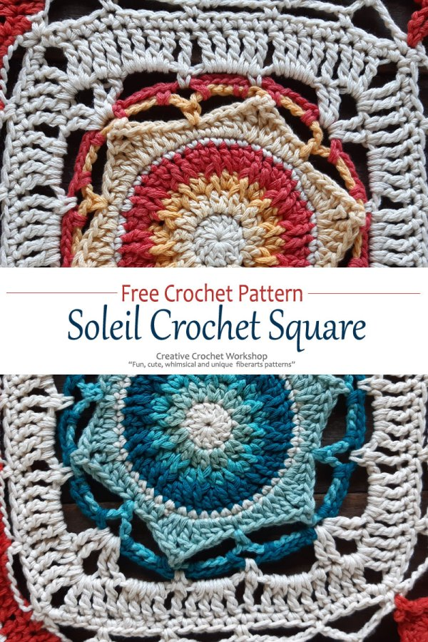 Soleil Crochet Square - Free Crochet Pattern | Creative Crochet Workshop @creativecrochetworkshop #freecrochetpattern #grannysquare #afghansquare #crochetalong #ccwcassiopeiathrow