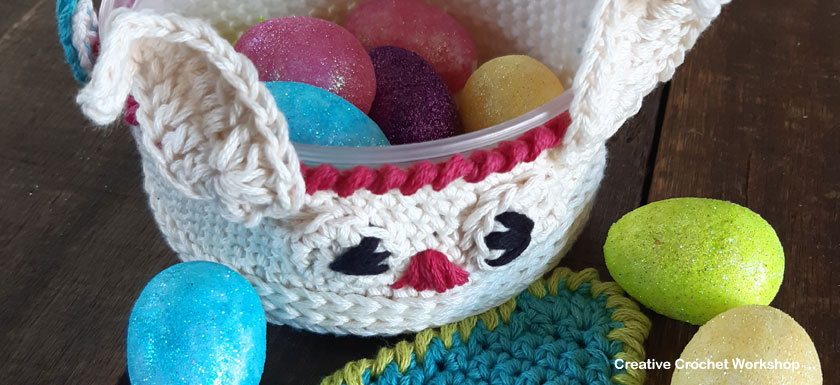 Cute Crochet Bunny Basket - Free Crochet Pattern | Creative Crochet Workshop #freecrochetpattern #crochet #crochetbasket #crochetbunny #eastercrochet @creativecrochetworkshop