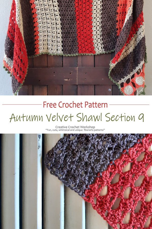 Autumn Velvet Shawl Section Nine - Free Crochet Along | Creative Crochet Workshop @creativecrochetworkshop #freecrochetpattern #crochetshawl #crochetwrap #crochetaccessory #crochetalong #ccwautumnvelvetshawl
