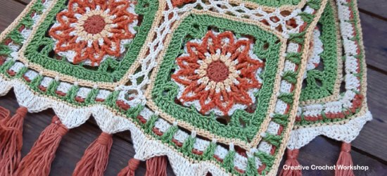 Flame Flower Crochet Table Runner | Creative Crochet Workshop @creativecrochetworkshop #crochetpattern #crochethome #crochetdecor #tablerunner