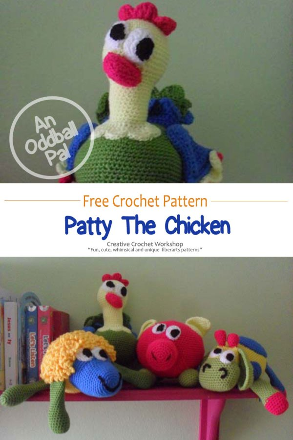 Patty Crochet Chicken Pal - Free Crochet Pattern | Creative Crochet Workshop #freecrochetpattern #crochet #crochetdoll #farmanimal #crochetchicken #crochetfarm #crochetsoftie #plushdoll @creativecrochetworkshop