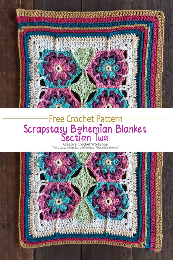 Scrapstasy Bohemian Crochet Blanket Section Two - Free Crochet Along | Creative Crochet Workshop #freecrochetalong #crochet #crochetblanket #stashbuster @creativecrochetworkshop