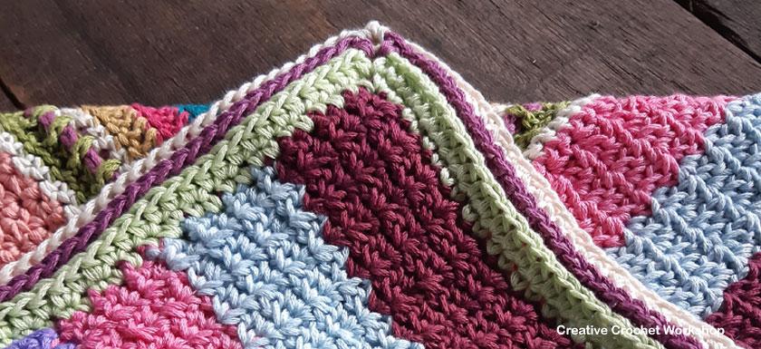Scrapstasy Bohemian Crochet Blanket Section 4 - Free Crochet Pattern   Creative Crochet Workshop #crochetsquare #afghanblock #afghansquare #freecrochetalong #crochet #crochetblanket #stashbuster @creativecrochetworkshop