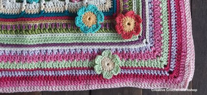 Scrapstasy Bohemian Crochet Blanket Section 8 - Free Crochet Pattern | Creative Crochet Workshop #crochetsquare #afghanblock #afghansquare #freecrochetalong #crochet #crochetblanket #stashbuster @creativecrochetworkshop