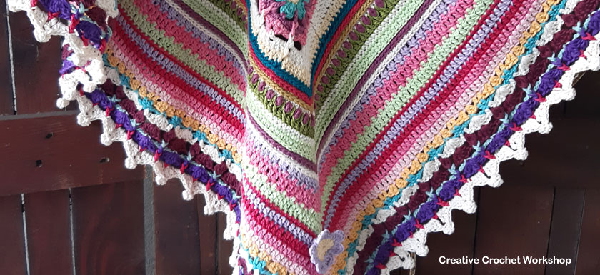 Scrapstasy Bohemian Crochet Blanket Section 10 - Free Crochet Pattern | Creative Crochet Workshop #crochetsquare #afghanblock #afghansquare #freecrochetalong #crochet #crochetblanket #stashbuster @creativecrochetworkshop