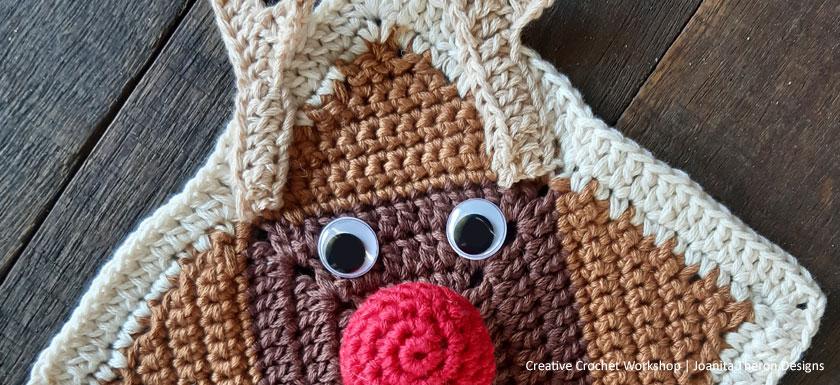 Dashful Rudolph Crochet Square- Free Crochet Pattern | Creative Crochet Workshop #freecrochetpattern #crochet #crochetgifts #Christmascrochet @creativecrochetworkshop #2020crochetgiftalong