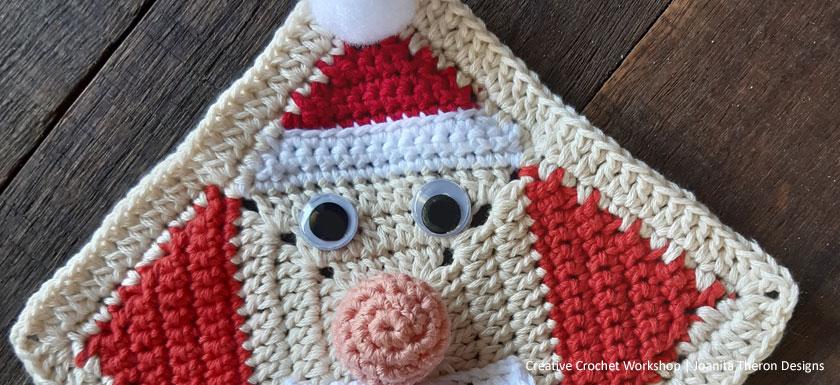 Joyful Santa Crochet Square - Free Crochet Pattern | Creative Crochet Workshop #freecrochetpattern #crochet #crochetgifts #Christmascrochet @creativecrochetworkshop #2020crochetgiftalong