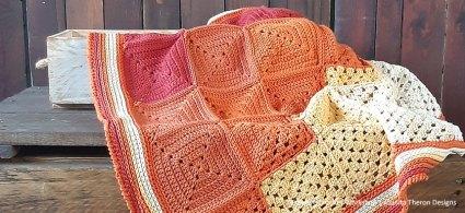 Orange Medley Crochet Throw Squares - Free Crochet Pattern | Creative Crochet Workshop @creativecrochetworkshop #freecrochetpattern #crochetthrow #crochetblanket #crochetsquares #crochetpattern #ccworangemedleythrow #crochetgrannysquare