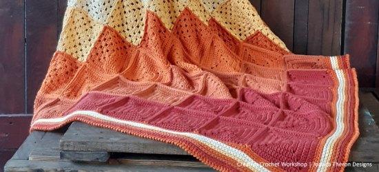 Orange Medley Crochet Throw Joining - Free Crochet Pattern | Creative Crochet Workshop @creativecrochetworkshop #freecrochetpattern #crochetthrow #crochetblanket #crochetsquares #crochetpattern #ccworangemedleythrow #crochetgrannysquare