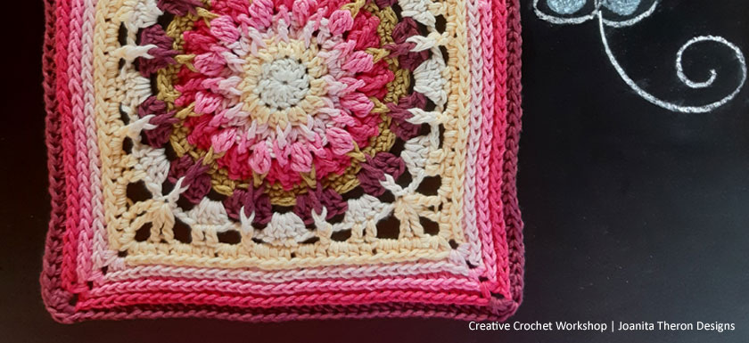 Haf Coral Crochet Square - Crochet A Block 2021 | Creative Crochet Workshop @creativecrochetworkshop #crochetsquare #freecrochetalong #crochetblanket #crochetthrow #ccwcrochetablock2021