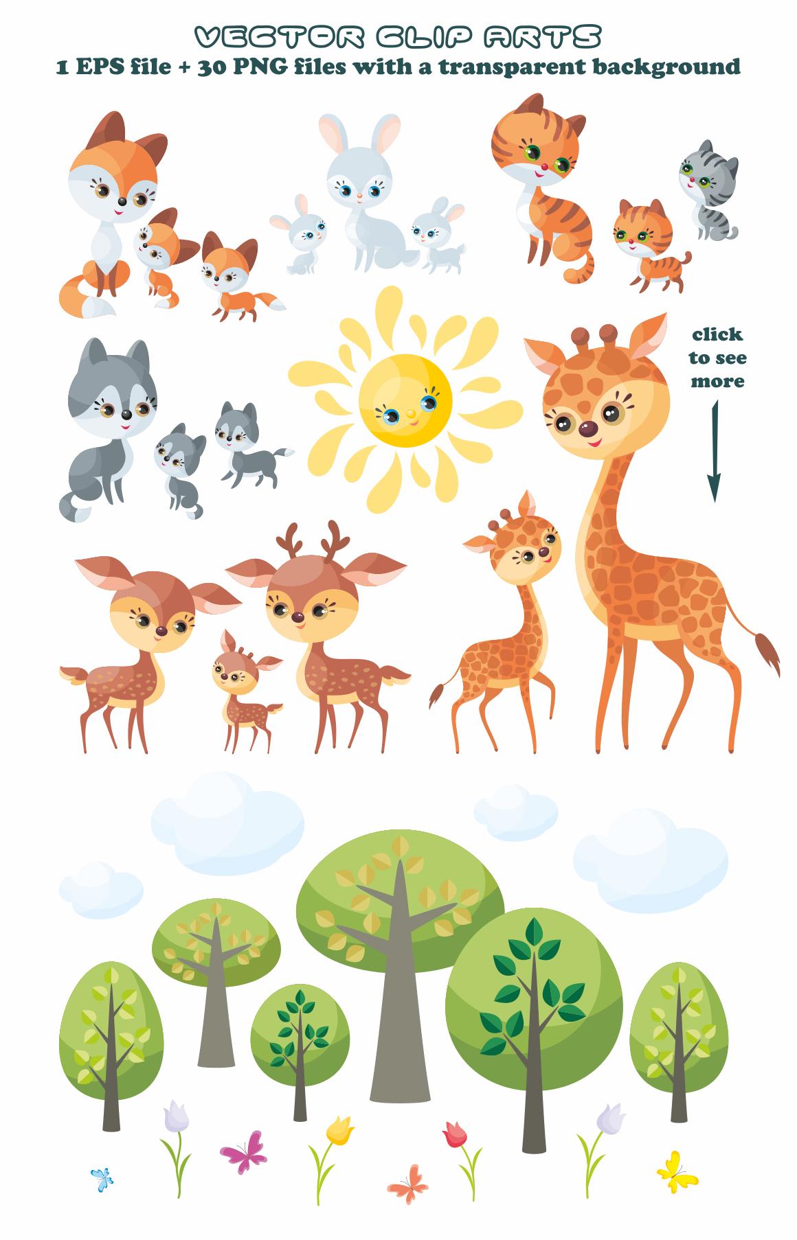 Cute Animals And Their Babies Vector Clip Art