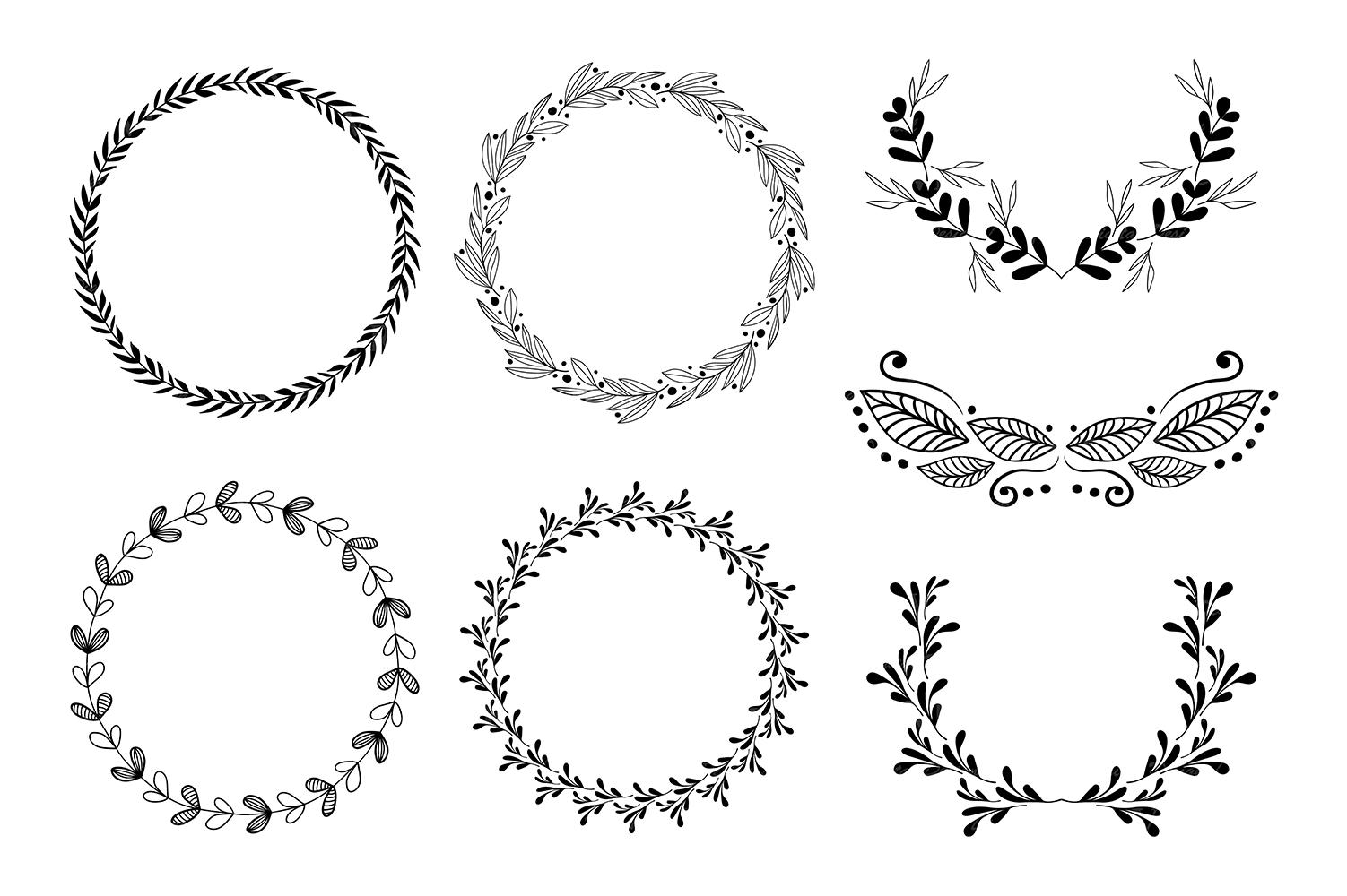 Wreaths Clipart Hand Drawn Black Design Elements Digital