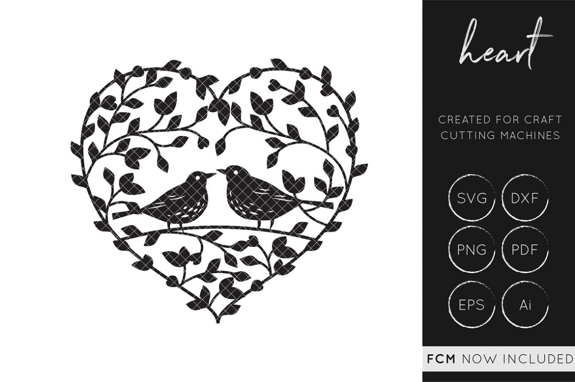 Download Love Birds Heart SVG Cut File / FCM / DXF / Vector ...