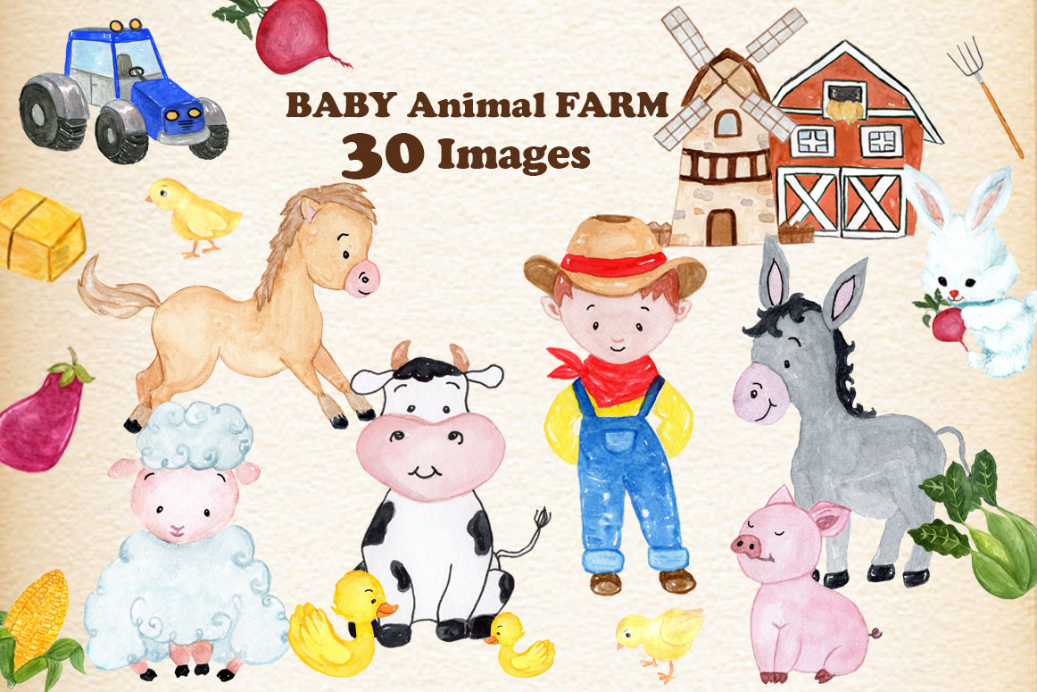 Set With 30 Baby Farm Animals Graphic By Vivastarkids