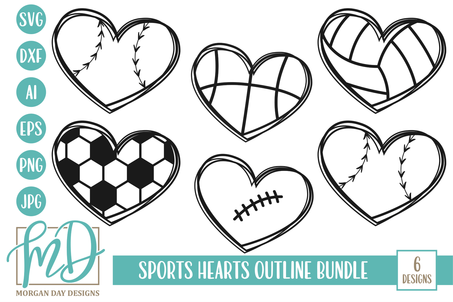 Sports Hearts Outline Svg Bundle Graphic By Morgan Day