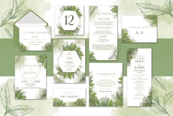 Green Fl Wedding Invitation Set