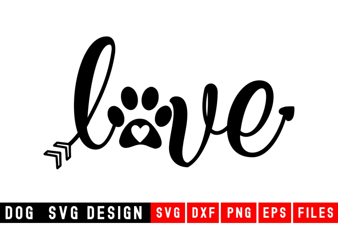 Download Dog Paw Love (Graphic) by Designdealy.com · Creative Fabrica