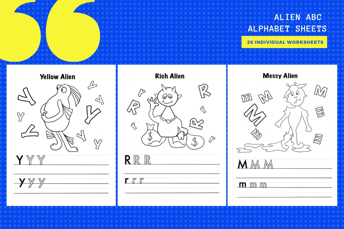Alien Alphabet Abc Activity Sheets X26 Graphic By