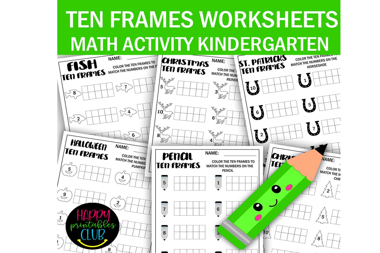 Ten Frames Math Worksheets Kindergarten Graphic By Happy