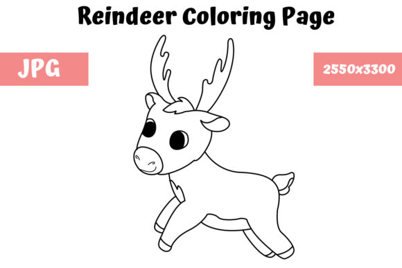 Reindeer Coloring Book Page For Kids Graphic By Mybeautifulfiles Creative Fabrica