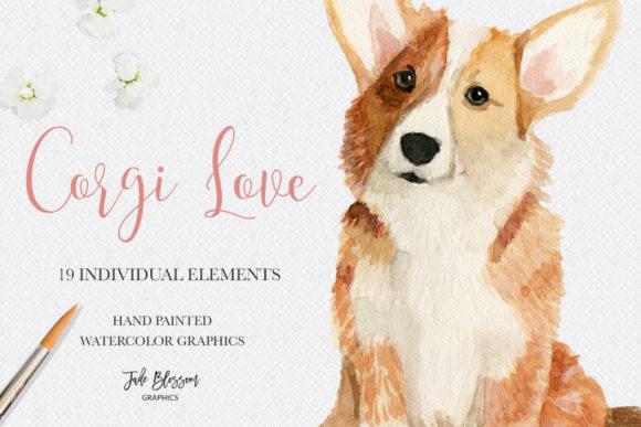 Download Corgi Love - Watercolor Corgis (Grafik) von Jade Blossom ...