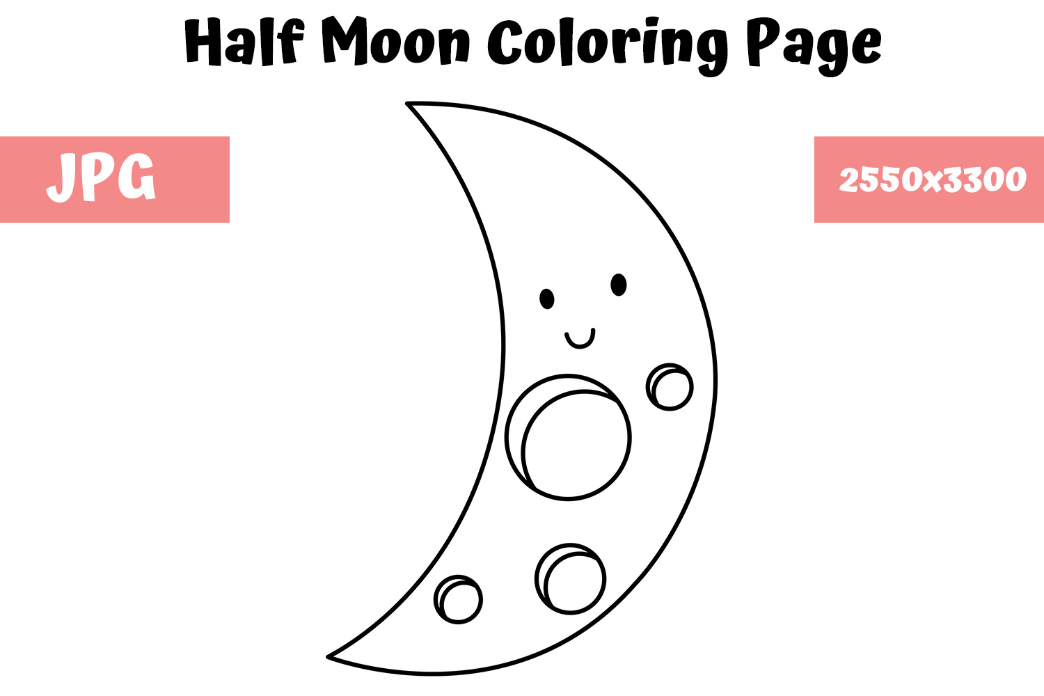 Moon Coloring Page For Kids Graphic By Mybeautifulfiles Creative Fabrica