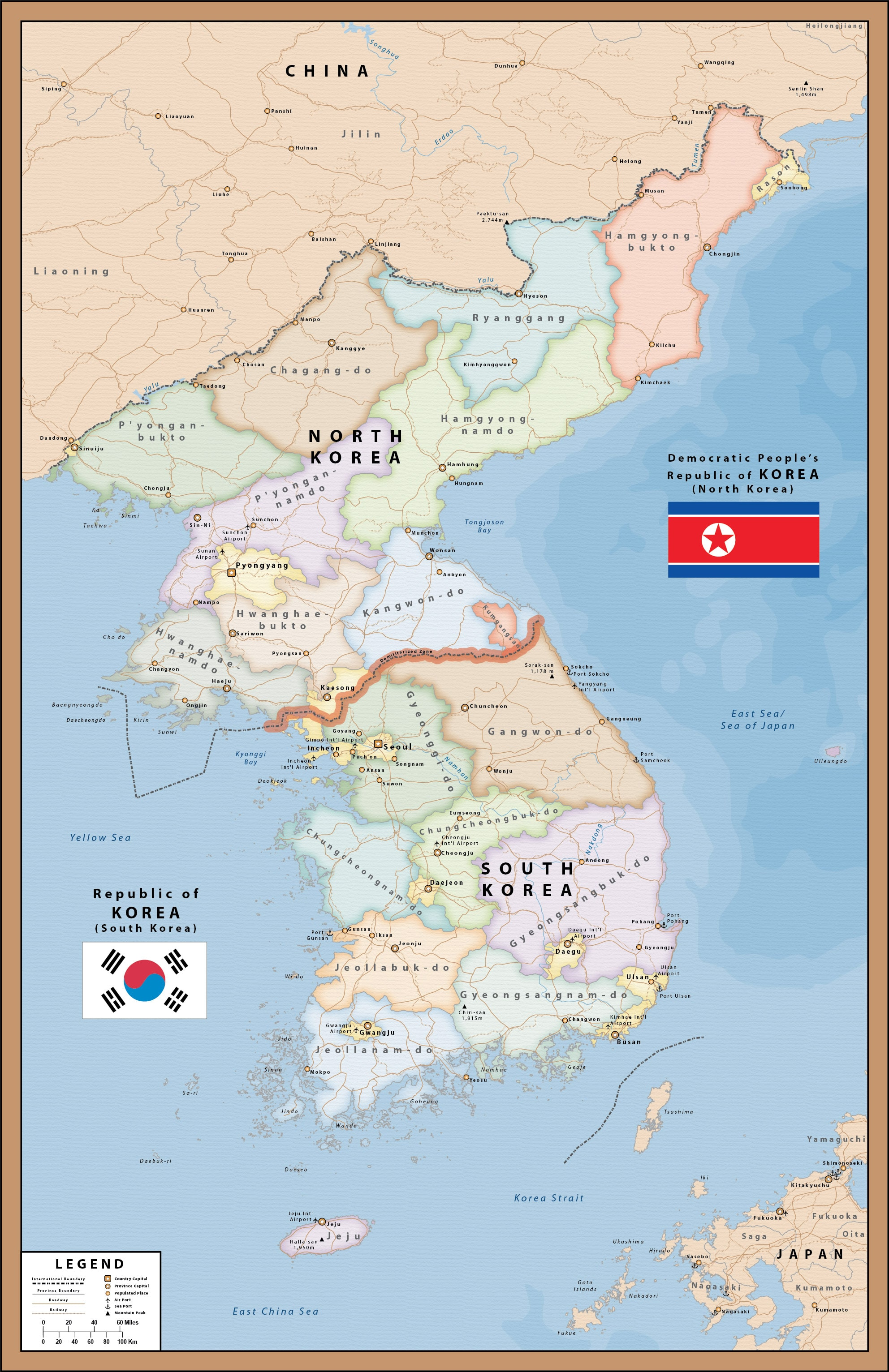 North South Korea Map Digital Vector Creative Force