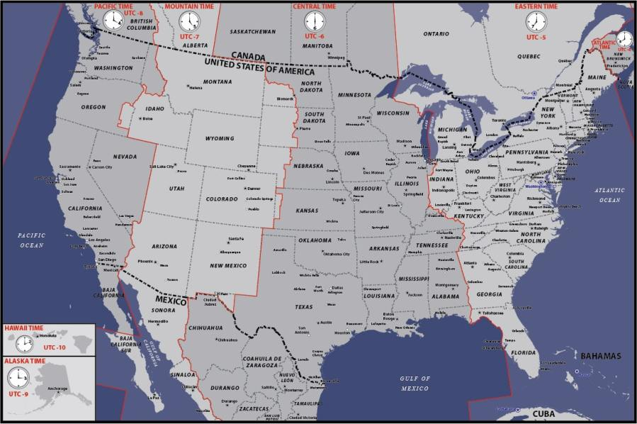 USA Time Zones Map   Digital Vector   Creative Force USA Basic Time Zones