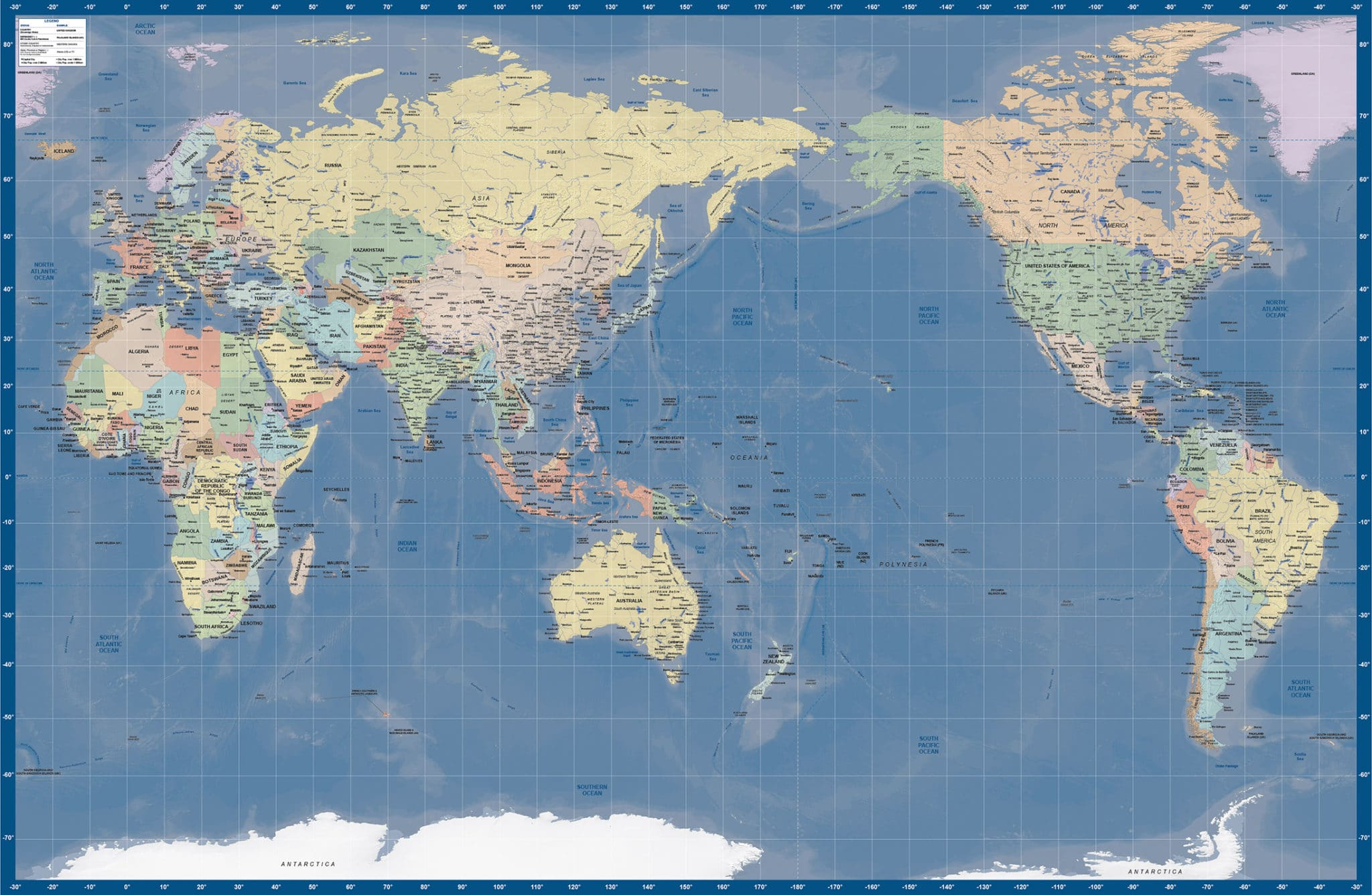 World Map Japan Relief Gall Map