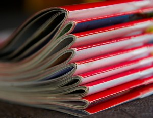 poetry journals | an image of red journals