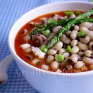 Carillas en sopa coulis de pimientos