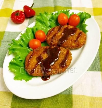 Milanesas de taro o ñame con salsa tonkatsu