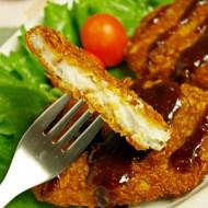 Milanesas de taro con salsa tonkatsu