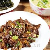 Bulgogi vegano de setas o de soja texturizada