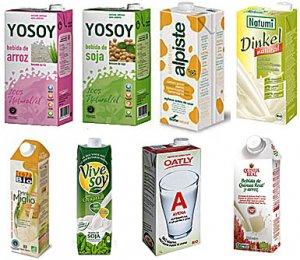 Ejemplos de leches vegetales (sin azúcar ni sabores)